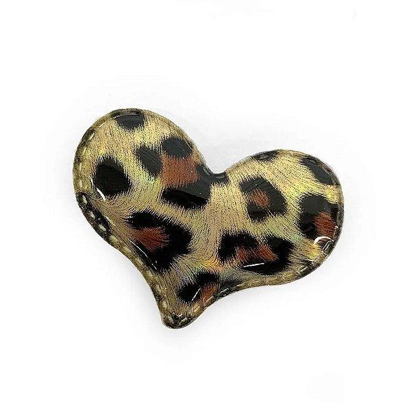 Aplique Coração Ouro Animal Print Decorativo - 2 Un - Artegift - Rizzo