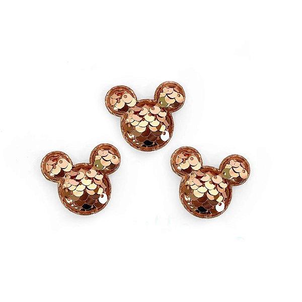 Aplique Mini Urso Paetê Rose Gold - 3,5cm - 5 Un - Artegift - Rizzo