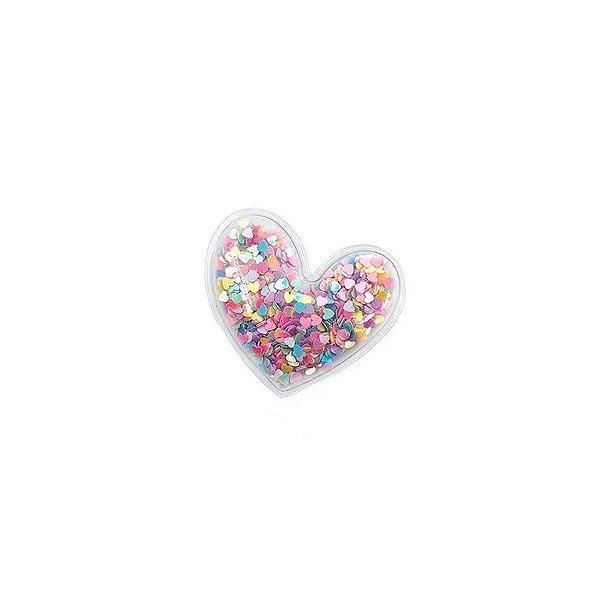Aplique Coração Incolor Colors - 5cm - 2 Un - Artegift - Rizzo