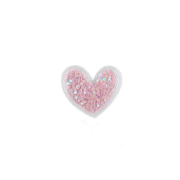 Aplique Coração Incolor Rosa - 5cm - 2 Un - Artegift - Rizzo
