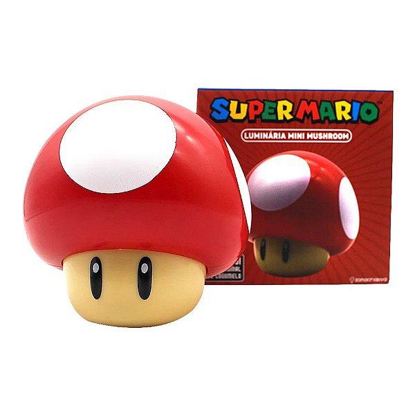 Mini Luminária Mesa Mushroom Cogumelo Super Mario C/ Som - Nintendo Original - 1 Un - Rizzo