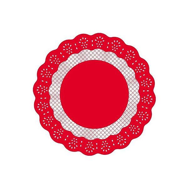 Fundo Rendado Redondo Vermelho - 100 unidades - Cromus - Rizzo
