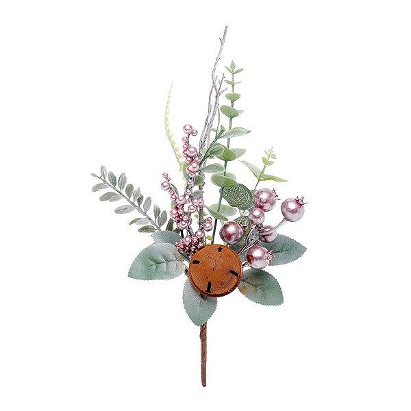 Enfeite de Natal Galho Médio Folhas Guizo 40x16x7cm - Rose & Verde - 1 UN - Cromus - Rizzo