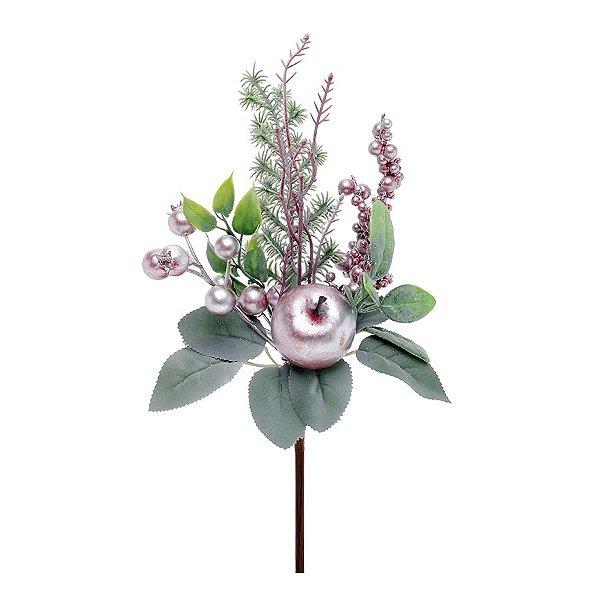Enfeite de Natal Pick Folhas & Frutas 26 x 15 x 8cm - Lilás & Verde - Delicata - 1 UN - Cromus - Rizzo