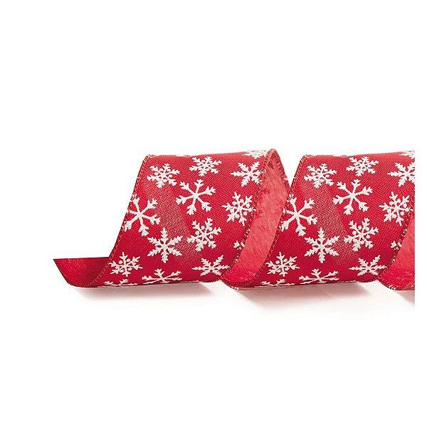 Fita Decorativa Natal Floco de Neve - Vermelho - 3,8x914cm - 1 UN - Cromus - Rizzo