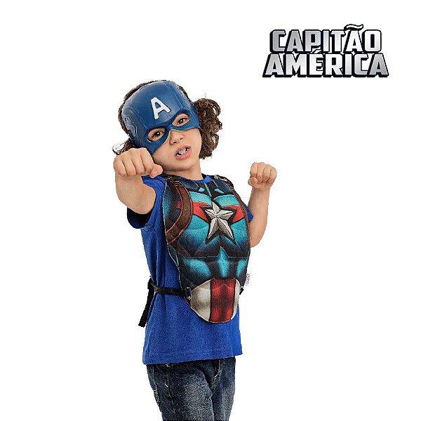 Fantasia Kit Vingadores Peitoral e Mascara Capitão América 02pçs 01 Unidade Regina Rizzo