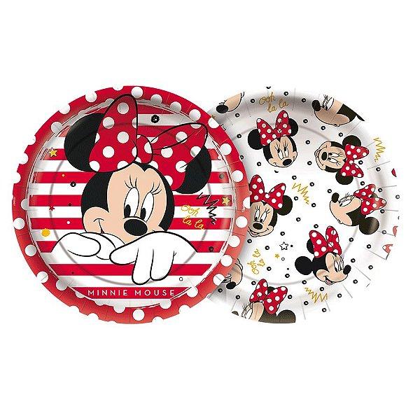 Prato Papel Redondo 18cm Festa Minnie Mouse 12 Unidades Regina Rizzo