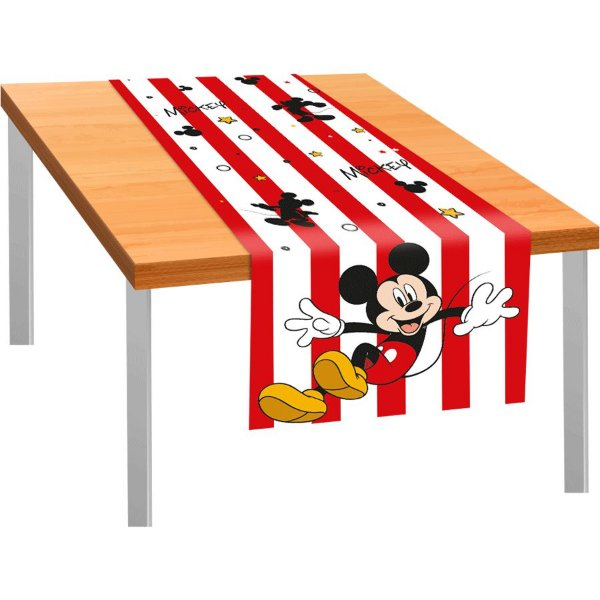 Trilho de Mesa de Tecido 40x200cm Festa Mickey Mouse 01 Unidade Regina Rizzo