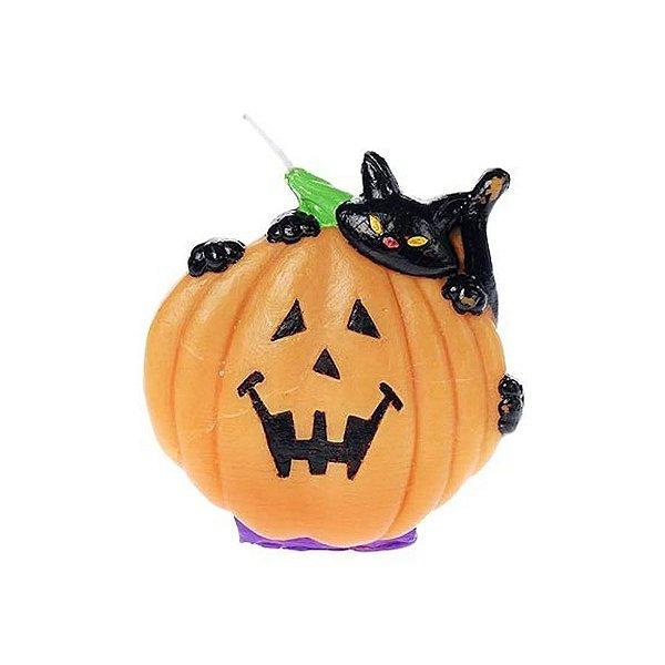 Vela Decorativa Halloween - Abóbora Gato - 1 UN - Rizzo