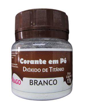Corante em pó Dióxido de Titanio branco 15g Mago Rizzo Confeitaria