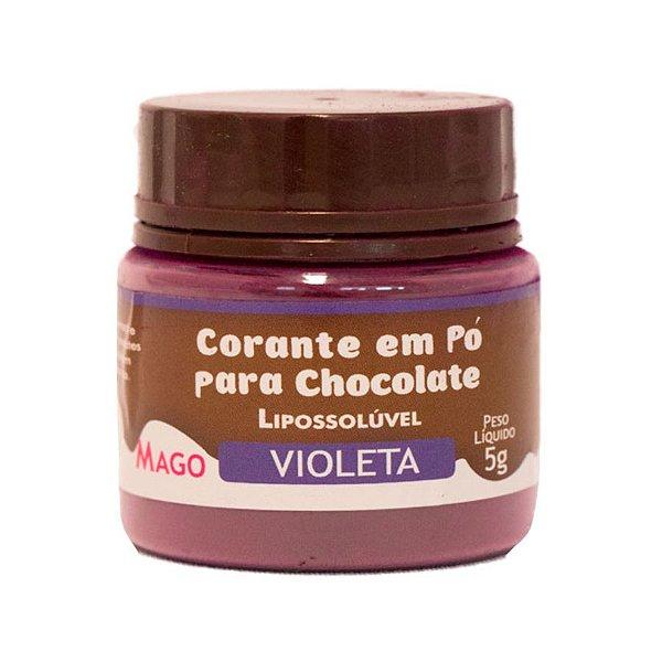 Corante em pó para chocolate lipossoluvel violeta 5g Mago Rizzo Confeitaria