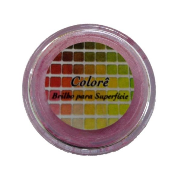 Pó para decoração, Brilho para Superfície Colorê Rosa 2g LullyCandy Rizzo Confeitaria