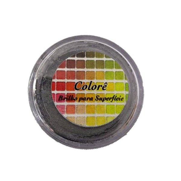 Pó para decoração, Brilho para Superficie Colorê Black Silver 2g LullyCandy Rizzo Confeitaria
