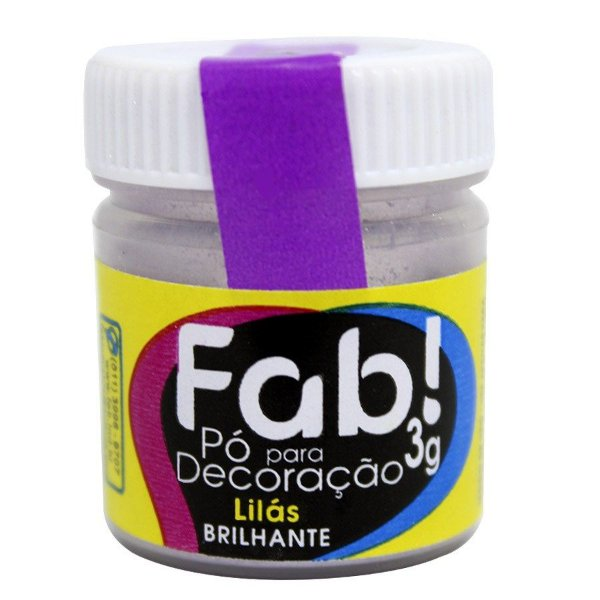 Pó para decoração lilás brilhante 3g Fab Rizzo Confeitaria