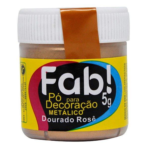 Pó para decoração dourado rose metalico 5g Fab Rizzo Confeitaria