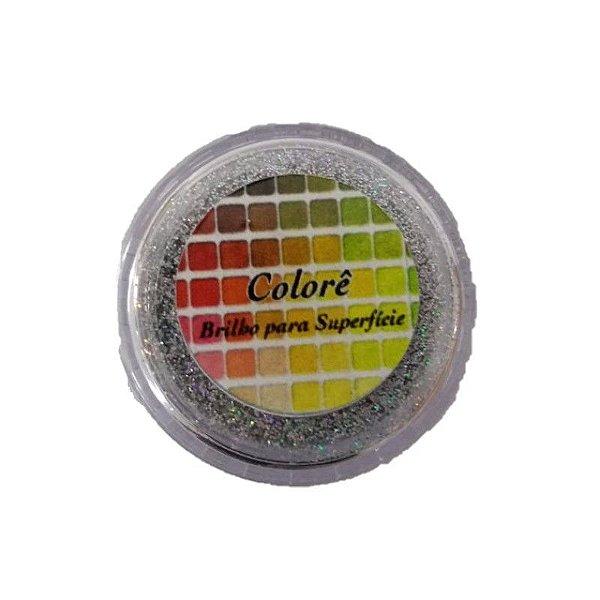 Pó para decoração, Brilho para Superficie Colorê Prata 1,5g LullyCandy Rizzo Confeitaria