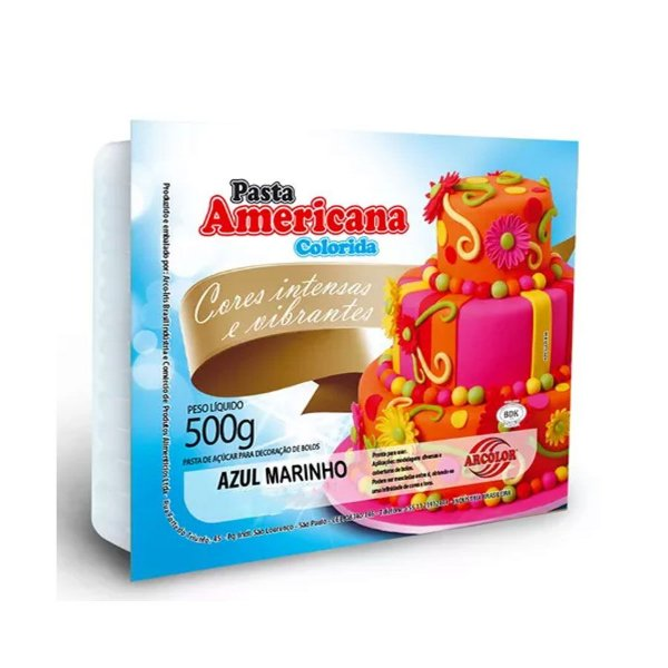 Pasta americana azul marinho 500g Arcolor Rizzo Confeitaria