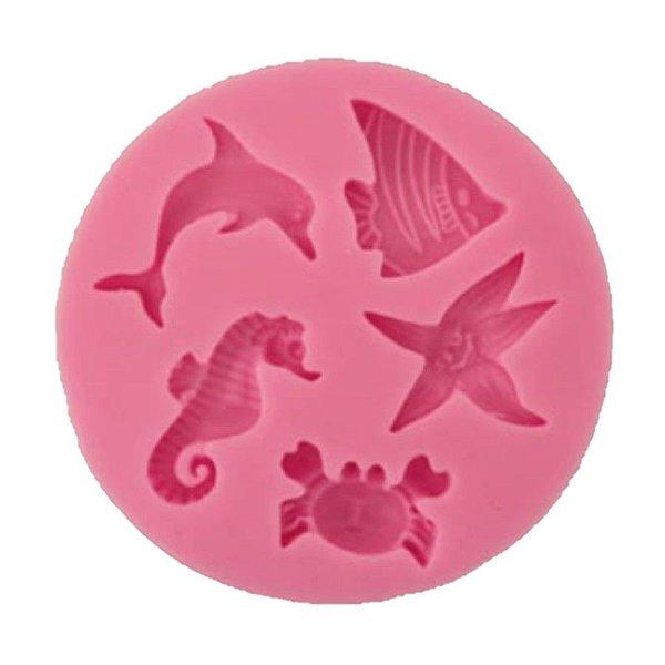 Molde de silicone Fundo do Mar Peixes S163 Molds Planet Rizzo Confeitaria