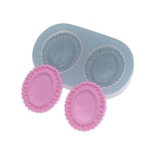 Molde de silicone Moldura Oval pequena 2 Ref. 346 Flexarte Rizzo Confeitaria