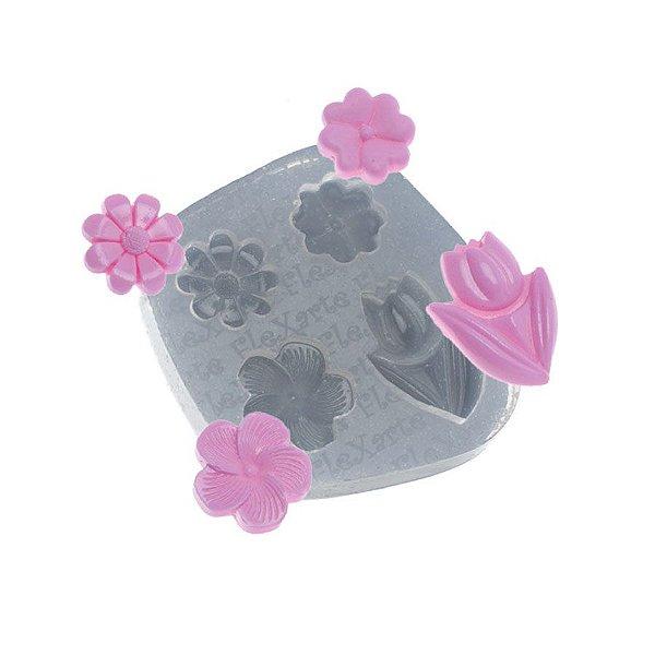 Molde de silicone Quarteto de Flores Athina Ref. 522 Flexarte Rizzo Confeitaria