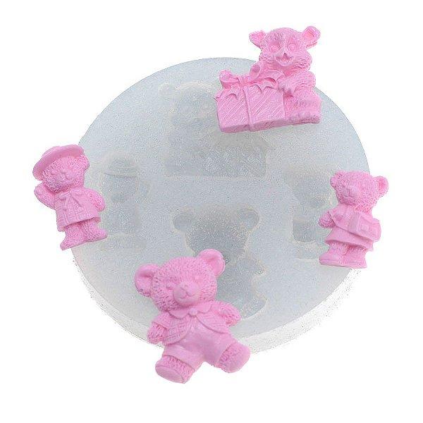 Molde de silicone Quarteto de ursos Ref. 287 Flexarte Rizzo Confeitaria