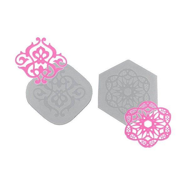 Molde de silicone Dupla de Mini Rendas Ref. 422 Flexarte Rizzo Confeitaria