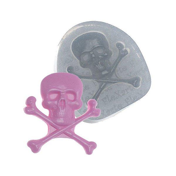 Molde de silicone Caveira Pirata Ref. 254 Flexarte Rizzo Confeitaria