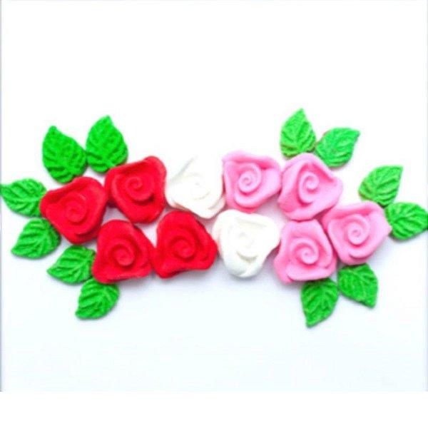 Confeitos comestíveis Rosa Pequena Vermelha Ref. 70 Jeni Joni Rizzo Confeitaria