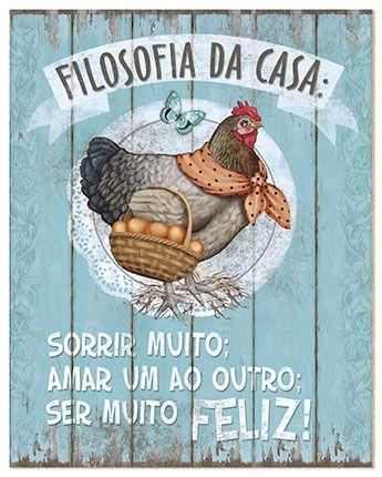 Placa Decor Home Galinha DHPM-001 Litoarte Rizzo Confeitaria
