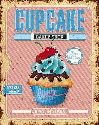 Placa Decor Home Cupcake Azul DHPM-175 Litoarte Rizzo Confeitaria