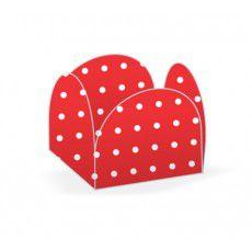 Forminha 4 Pétalas Poá Vermelho e Branco Cod. 10.17 com 50 un. Nc Toys Rizzo Confeitaria