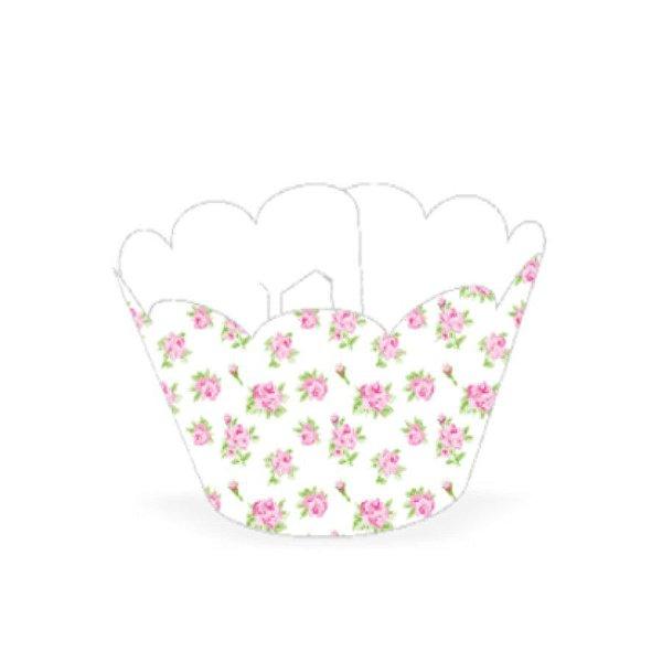 Wrapper para CupCake Tradicional Floral Branco Cod. 48.4 com 12 un. Nc Toys