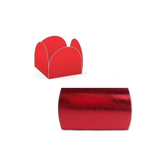 Forminha 4 Pétalas Vermelha Laminada com 50 un. Assk Emb. Rizzo Confeitaria