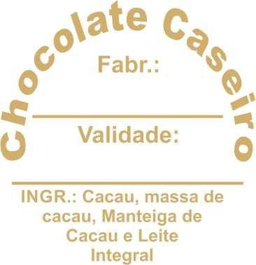 Etiqueta Adesiva Chocolate Caseiro Cod. 069 c/ 100 un. Massai Rizzo Confeitaria
