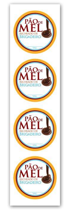 Etiqueta Adesiva Pão de Mel Brigadeiro Cod. 6568 c/ 20 un. Miss Embalagens Rizzo Confeitaria