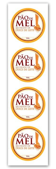 Etiqueta Adesiva Pão de Mel Doce de Leite Cod. 6513 c/ 20 un. Miss Embalagens Rizzo Confeitaria