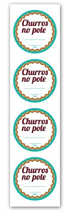 Etiqueta Adesiva Churros no Pote Cod. 5523 c/ 20 un. Miss Embalagens Rizzo Confeitaria