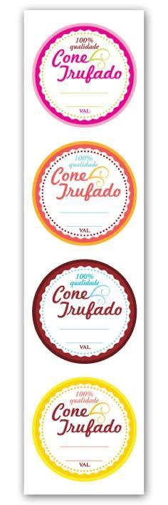 Etiqueta Adesiva Cone Trufado Color Cod. 6285 c/ 20 un. Miss Embalagens Rizzo Confeitaria
