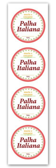 Etiqueta Adesiva Palha Italiana Cod. 5585 c/ 20 un. Miss Embalagens Rizzo Confeitaria