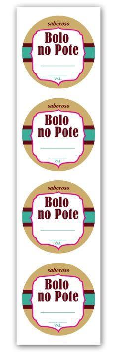 Etiqueta Adesiva Bolo no Pote Marrom Cod. 5509 c/ 20 un. Miss Embalagens Rizzo Confeitaria