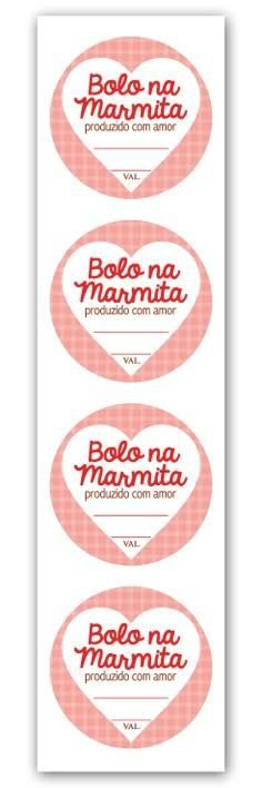 Etiqueta Adesiva Bolo na Marmita Cod. 4694 c/ 20 un. Miss Embalagens Rizzo Confeitaria