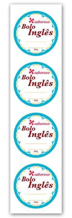 Etiqueta Adesiva Bolo Inglês Cod. 4687 c/ 20 un. Miss Embalagens Rizzo Confeitaria