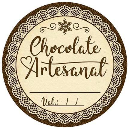Adesivo Pote Chocolate Artesanal com Validade APL-007 c/ 3 un. Litoarte Rizzo Confeitaria