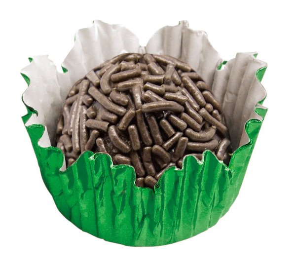 Forminha de Papel N° 4 Recortada Verde Metalizada com 50 un. Cod. 3230 Mago Rizzo Confeitaria