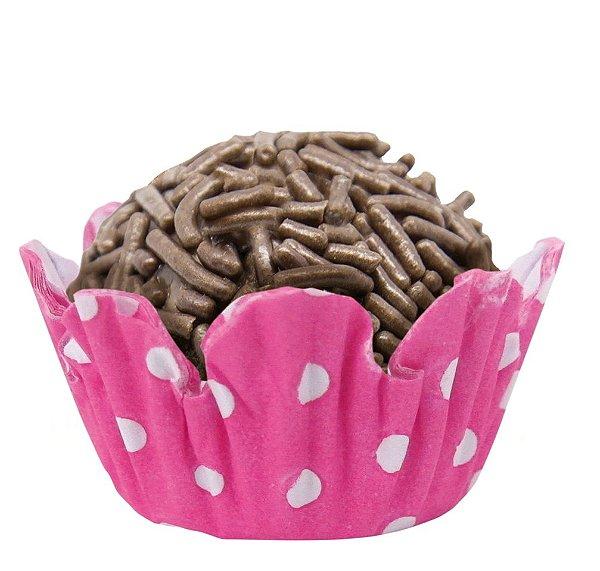 Forminha de Papel N° 5 Recortada Bolinha Negativa Pink com 100 un. Cod. 6333 Mago Rizzo Confeitaria