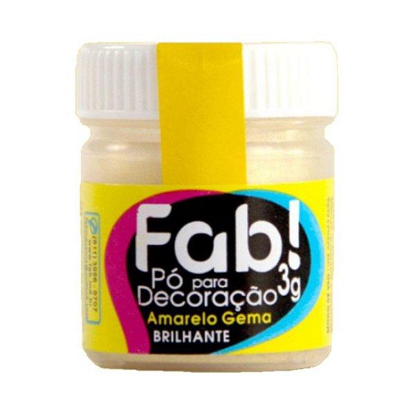 Pó para decoração Amarelo Gema 3g Fab Rizzo Confeitaria