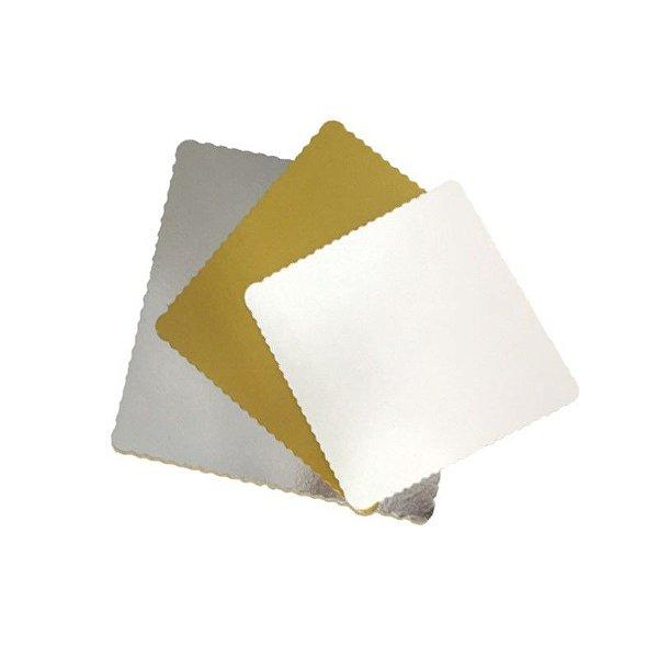 Base para Bolo Cake Board Quadrado Prata 24 cm Ultrafest Rizzo Confeitaria