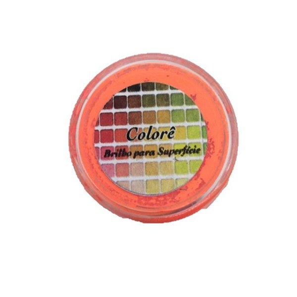 Pó para decoração, Brilho para superficie Colorê Laranja Flúor 2g LullyCandy Rizzo Confeitaria