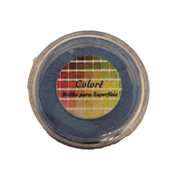 Pó para decoração, Brilho para superficie Colorê Agua Marinha 2g LullyCandy Rizzo Confeitaria