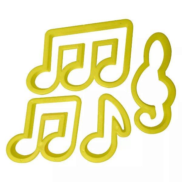 Kit Cortador de Notas Musicais com 4 peças Blue Star Rizzo Confeitaria